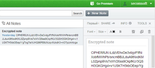 Evernote example of encrypted note